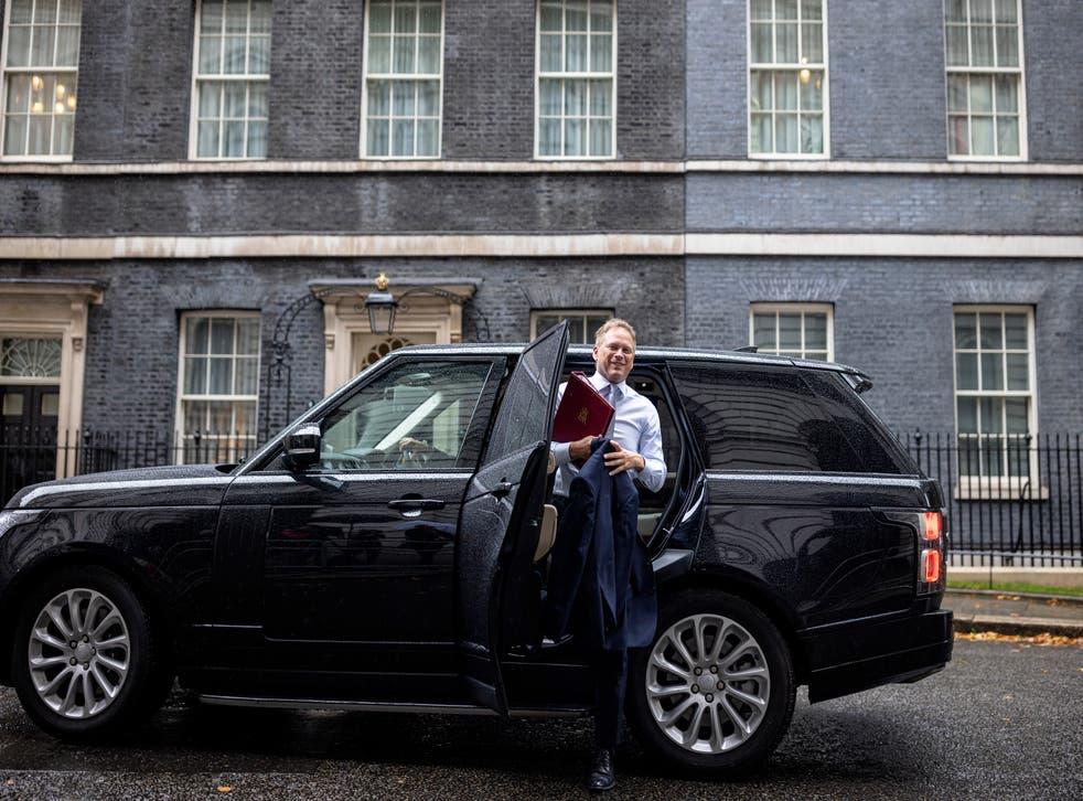 <p>Transport secretary Grant Shapps arrives at Downing Street on 14 September</p>