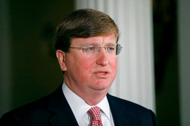 <p>Mississippi Governor Tate Reeves speaks at a news conference</p>