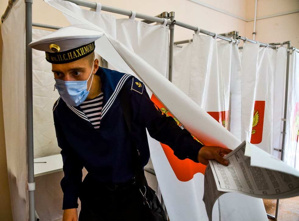 <p>A sailor votes in Sevastopol, Crimea, on Sunday as part of Russian parliamentary elections </p>