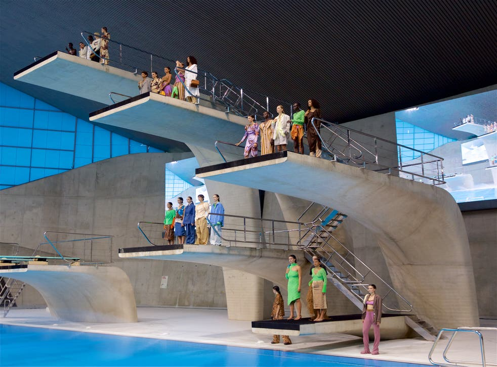 <p>Rejina Pyo staged her SS22 collection at the London Aquatics Centre. </p>