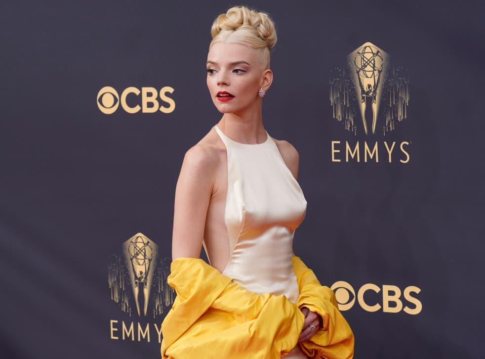 <p>Anya Taylor-Joy at the Emmys 2021.</p>
