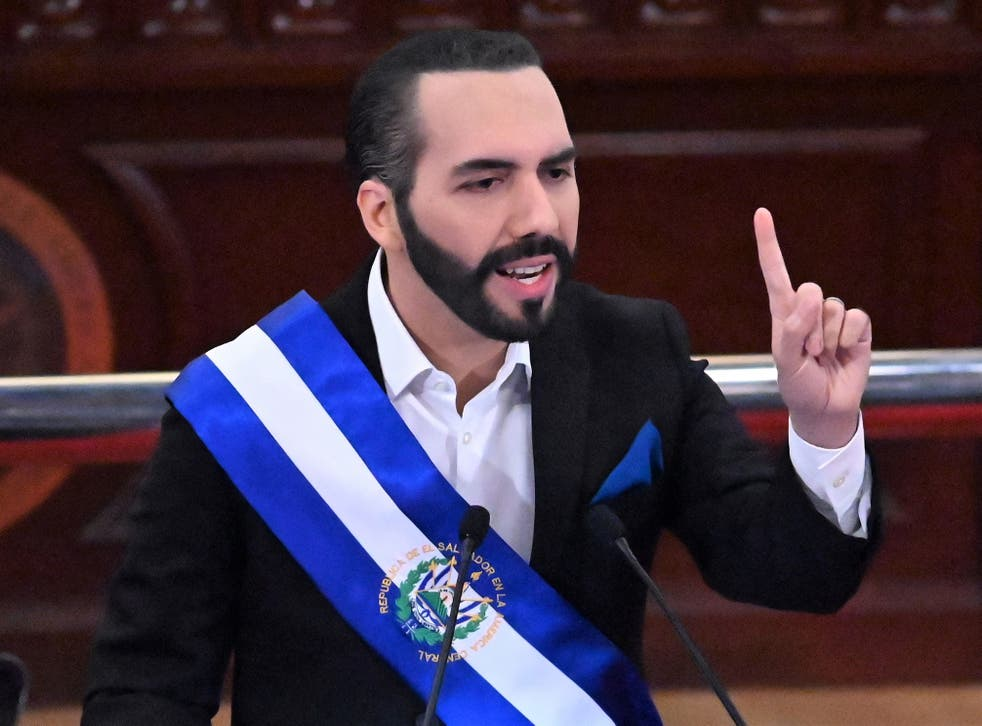 <p>Salvadoran President Nayib Bukele delivers his annual address to the nation marking his second year in office at the Legislative Assembly in San Salvador on 1 June, 2021</p>