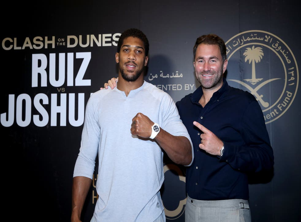 <p>Anthony Joshua, left, is promoted by Eddie Hearn (Nick Potts/PA)</p>