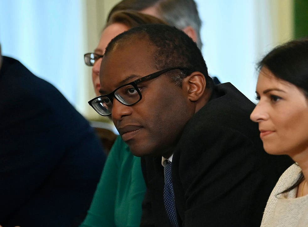 <p>Kwasi Kwarteng, the business secretary, at a crisis meeting with energy companies </p>