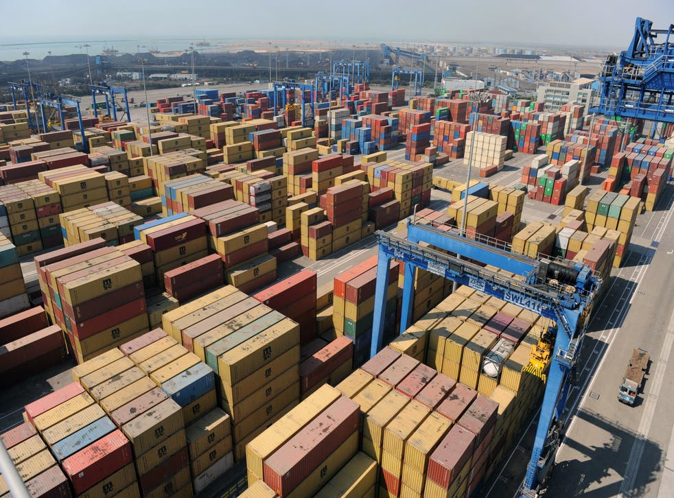 <p>File image: Stacked containers are seen at Mundra Port in Gujarat, India</p>