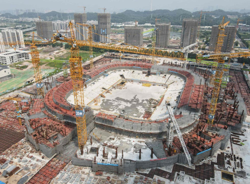 <p>The under-construction football stadium in Guangzhou that Evergrande was developing </p>