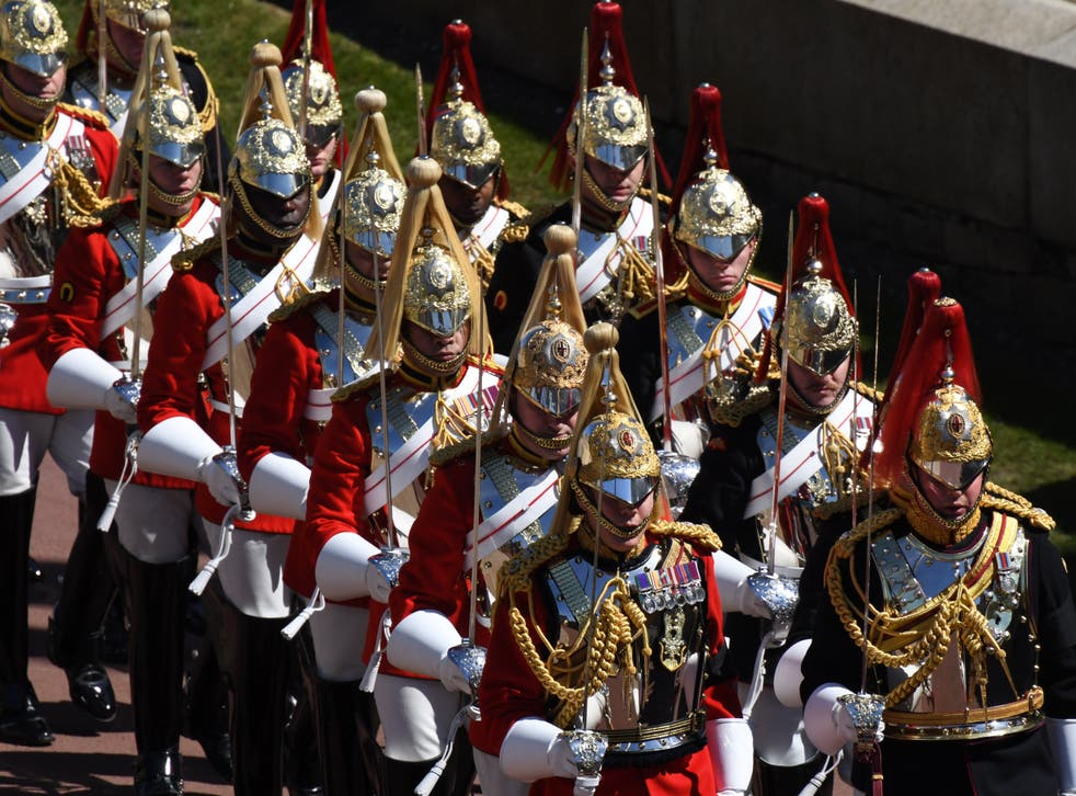 <p>All those involved belong to the Household Cavalry Mounted Regiment, pictured at Prince Philip's funeral, which is often tasked with guarding the Queen</p>