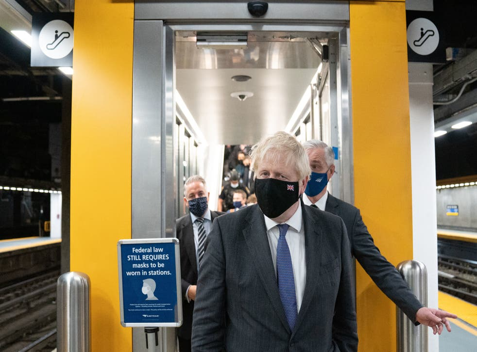 <p>The PM boards a train for Washington and a meeting with President Biden on Tuesday </p>