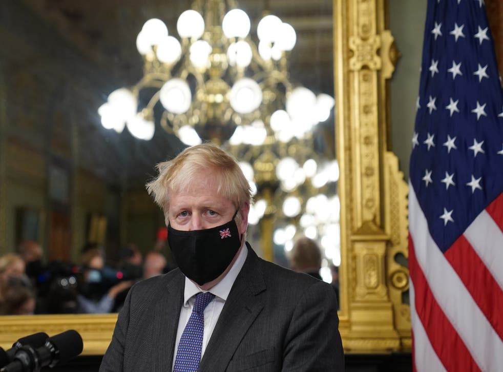 <p>Prime Minister Boris Johnson in the vice president's office in the Eisenhower Executive Office Building, next to the White House</p>