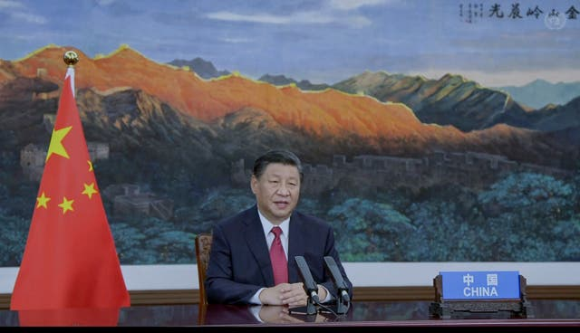 <p>Xi Jingping speaks via video statement at the UN General Assembly </p>