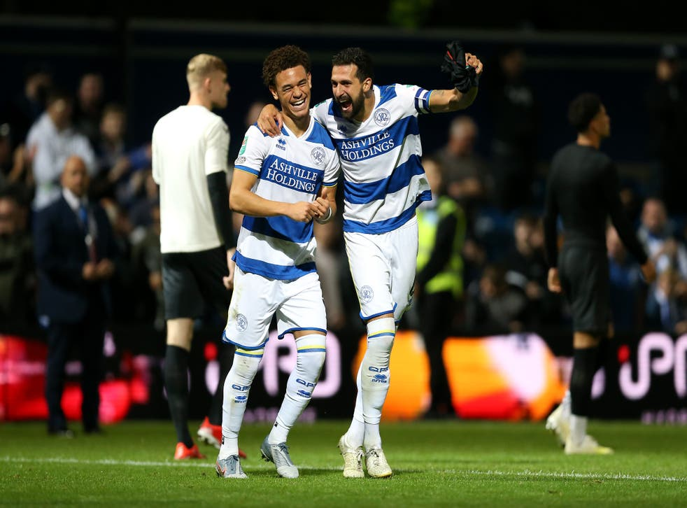 Luke Amos and Yoann Barbet celebrate winning the penalty shoot out (Nigel French/PA)