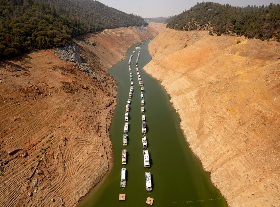 <p>Houseboats sit in a narrow section of water in a depleted Lake Oroville in California, which is currently at 23% of its capacity, suffering from extreme levels of drought</p>
