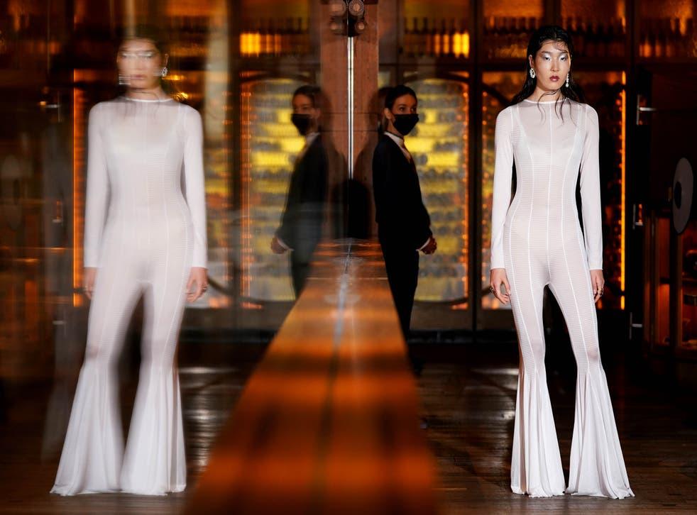 A model rehearses for the OSMAN London Fashion Week show (Jonathan Brady/PA)