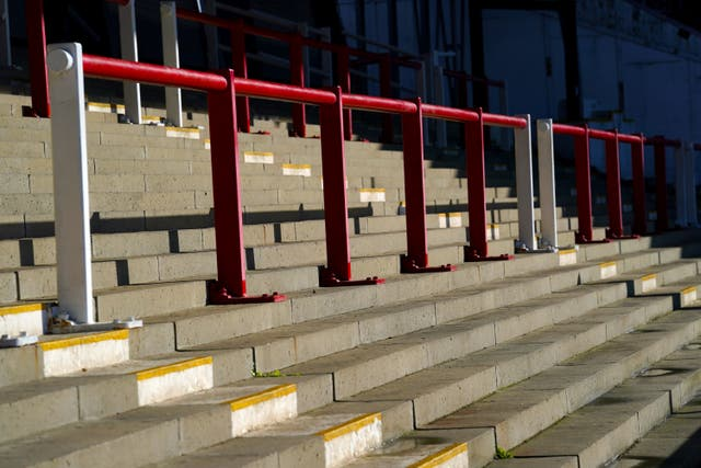 General view of the standing terraces at Griffin Park (John Walton/PA)