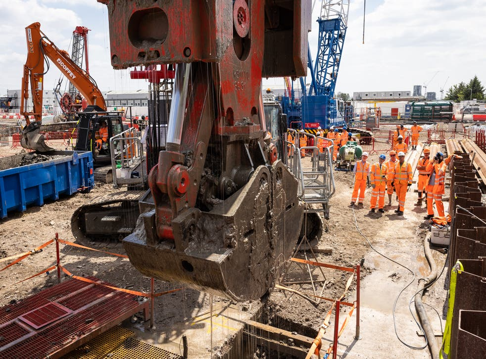 <p>Transport secretary Grant Shapps gives engineers the go-ahead to work on the HS2 station at Old Oak Common in June 2021 </p>