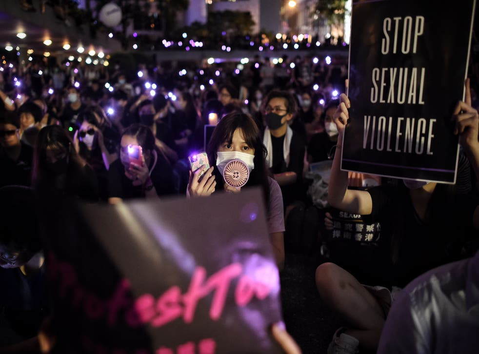 <p>People take part in a #MeToo rally in Hong Kong in 2019</p>
