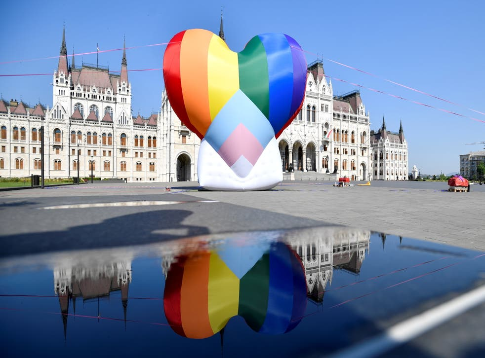<p>A huge rainbow balloon put up at Hungary's parliament in protest against anti-LGBT law. </p>