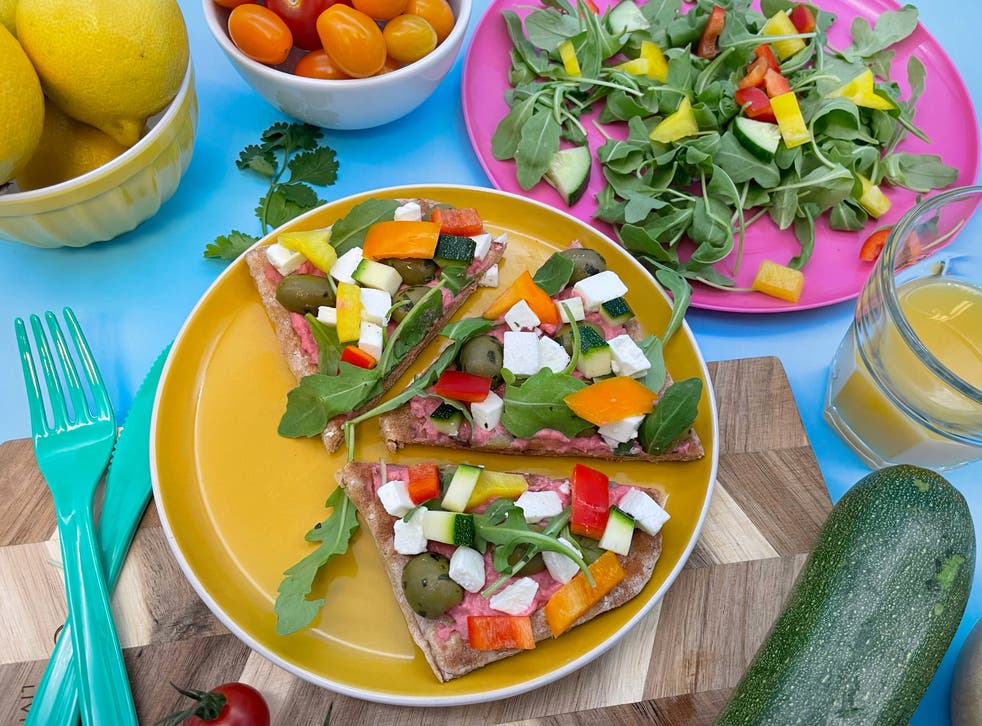 <p>Beetroot houmous flatbread: this dish is as tasty as it is healthy </p>