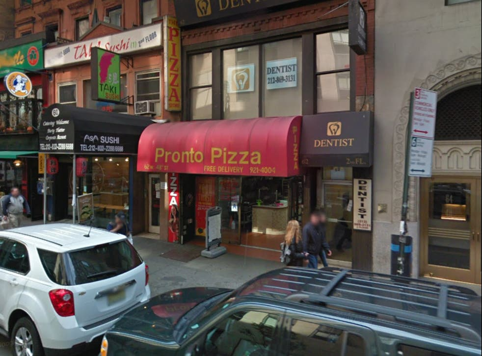 <p>The Pronto Pizza shop on W38th street in New York City</p>