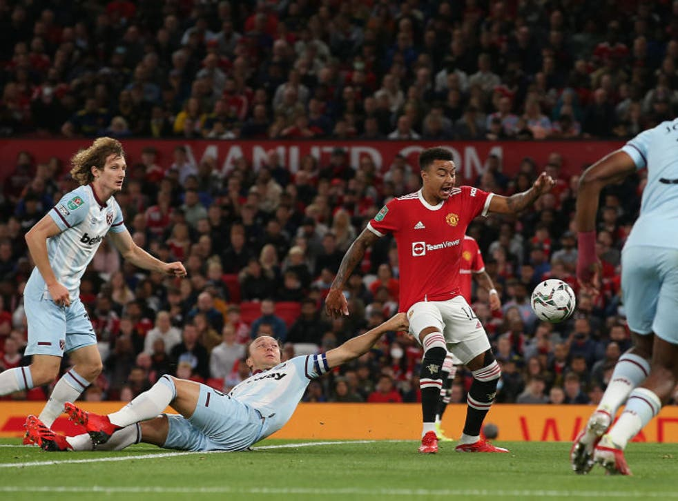 <p>Lingard went down under a challenge from Noble during West Ham's Carabao Cup win</p>