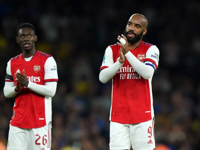Alexandre Lacazette (right) wants Arsenal to put together a cup run (Tim Goode/PA)