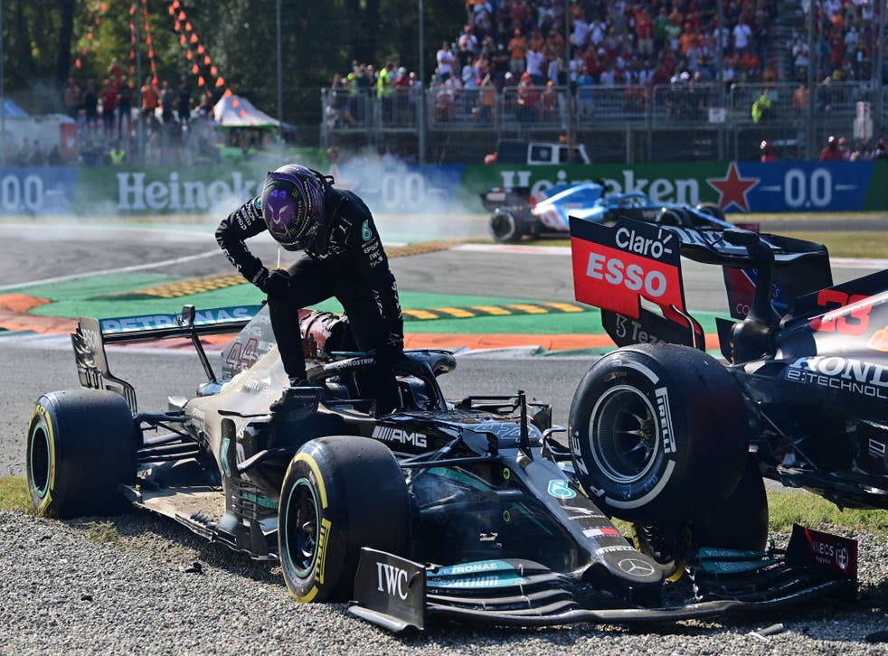 <p>Hamilton and Verstappen crashed at Monza </p>