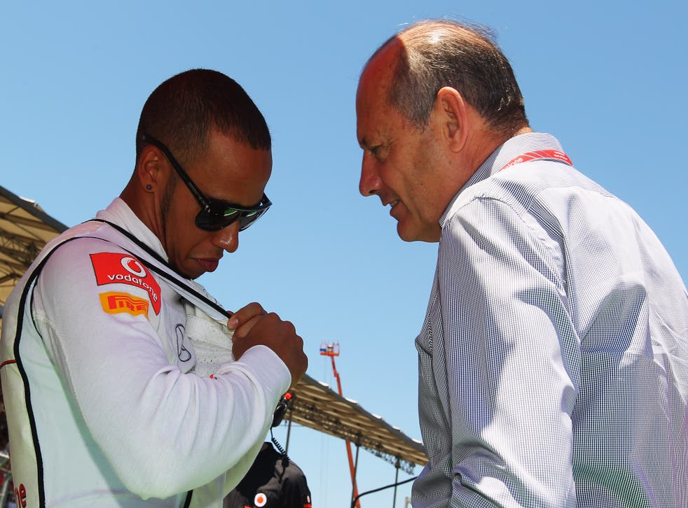 <p>Ron Dennis with Lewis Hamilton during the driver's McLaren spell </p>