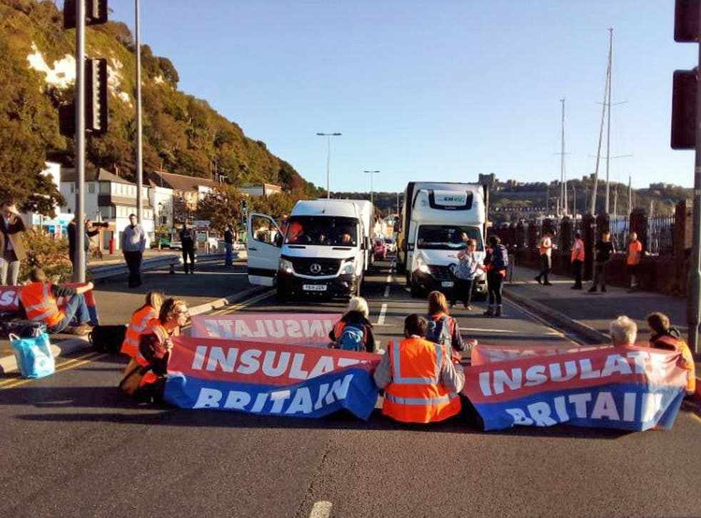 <p>Insulate Britain protesters block the A20 which provides access to the Port of Dover in Kent</p>