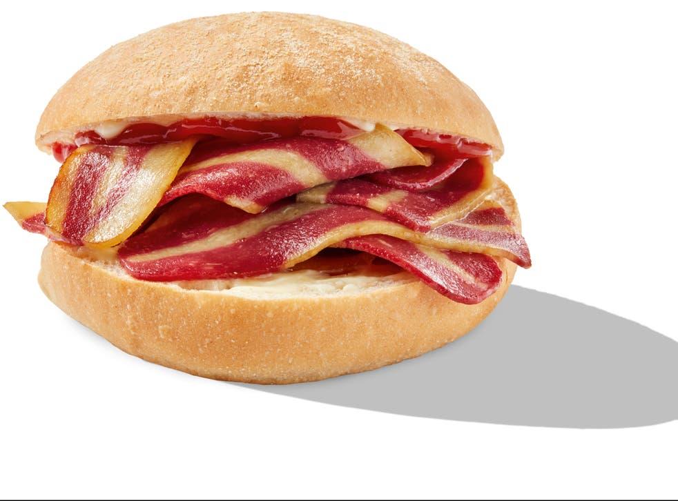 <p>Greggs vegan bacon breakfast roll</p>