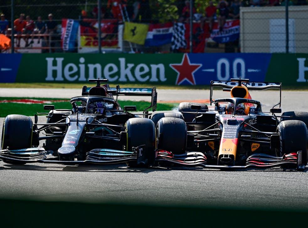 <p>Lewis Hamilton (left) and Max Verstappen crash at the Italian GP</p>