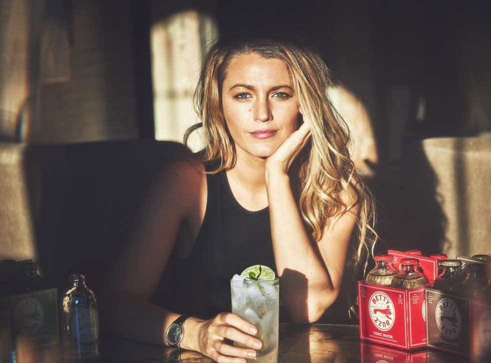 <p>Blake Lively with her new drinks brad, Betty Buzz</p>