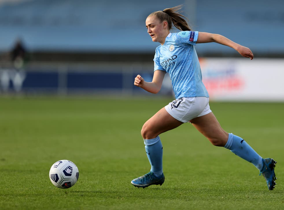 <p>Georgia Stanway in action for Man City</p>