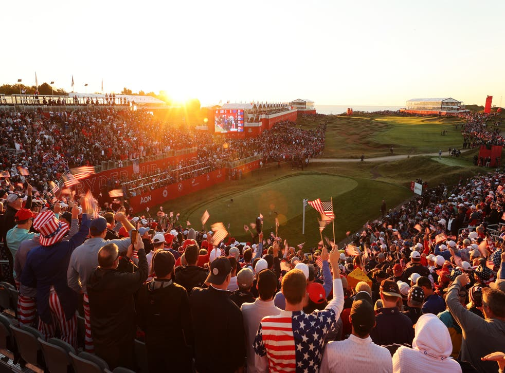 <p>Fans gather in the first tee grandstands prior to the start of Friday Morning Foursome Matches of the 43rd Ryder Cup at Whistling Straits</p>