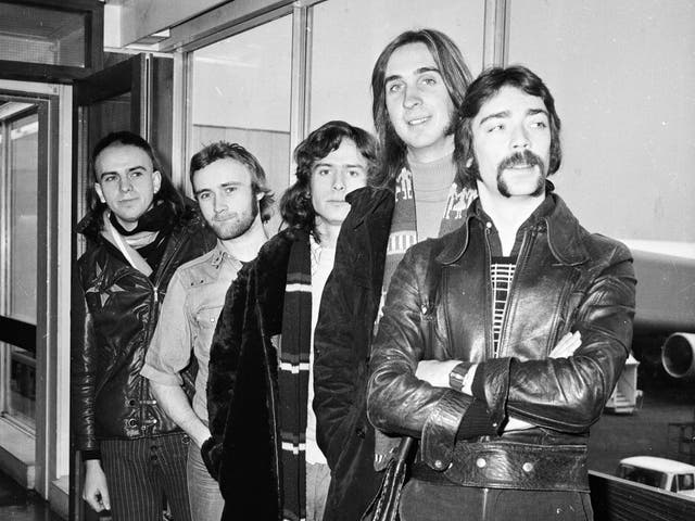 <p>Genesis pose for a snap at London Airport in 1974</p>