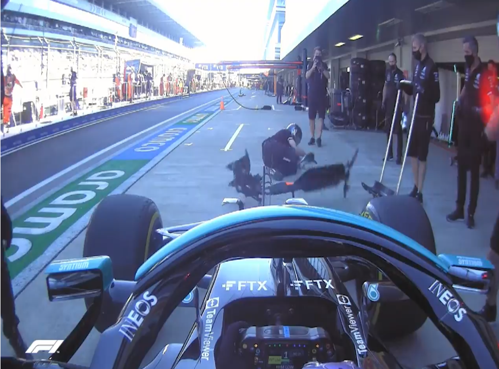 <p>Lewis Hamilton's on-board camera captured the incident  </p>