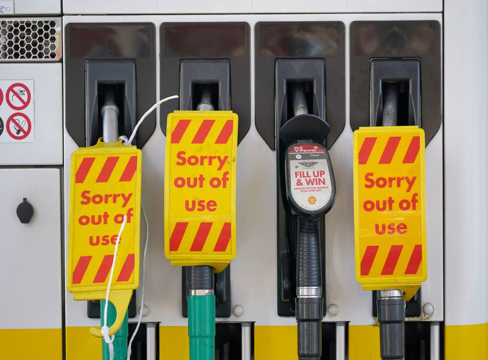 <p>Closed pumps at a Shell garage in Clapham, London as drivers ignore pleas not to panic buy</p>