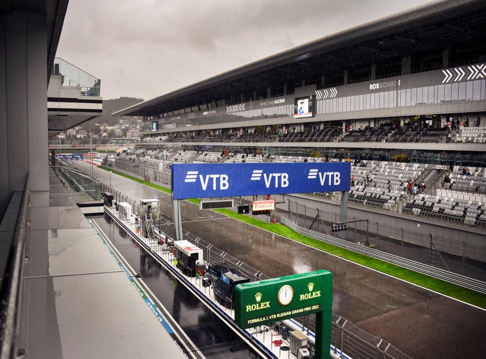 <p>Rain falls at the track of the Formula One Russian Grand Prix at the Sochi Autodrom circuit</p>