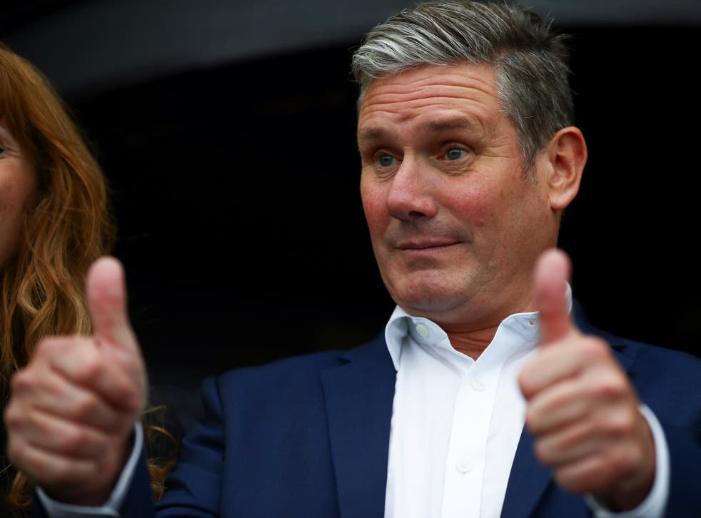 <p>Keir Starmer puts on a brave face as he arrives at the Labour Conference in Brighton</p>