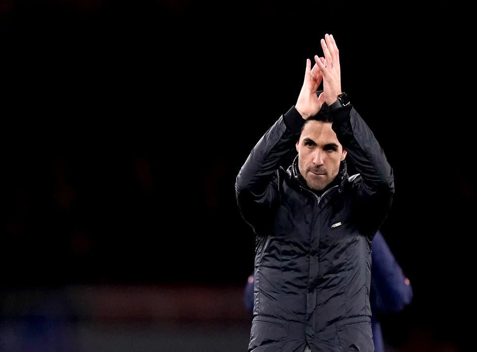 Mikel Arteta applauds the Arsenal fans (John Walton/PA)