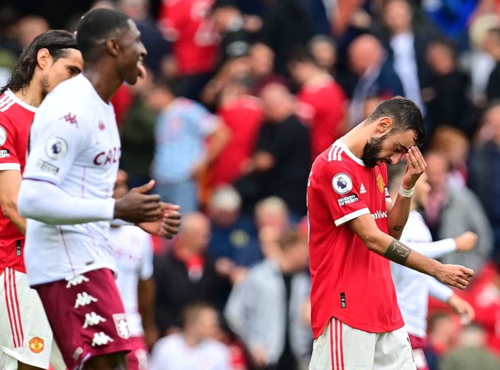 <p>Fernandes missed the stoppage time spot kick after the Villa players delayed him from taking</p>