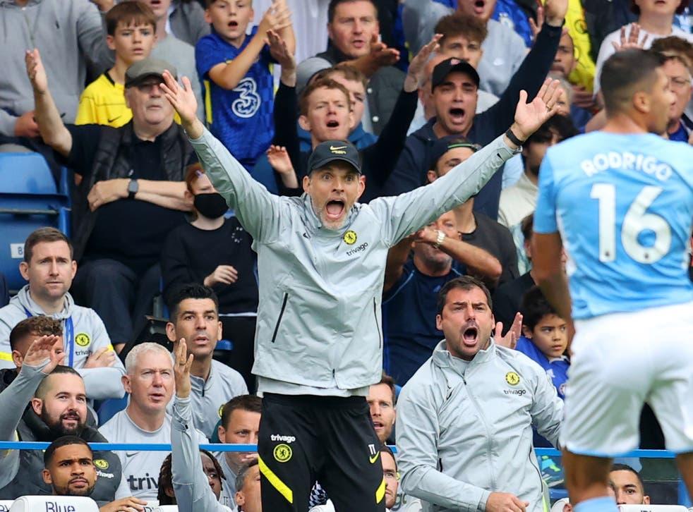 <p>Thomas Tuchel reacts at Stamford Bridge</p>