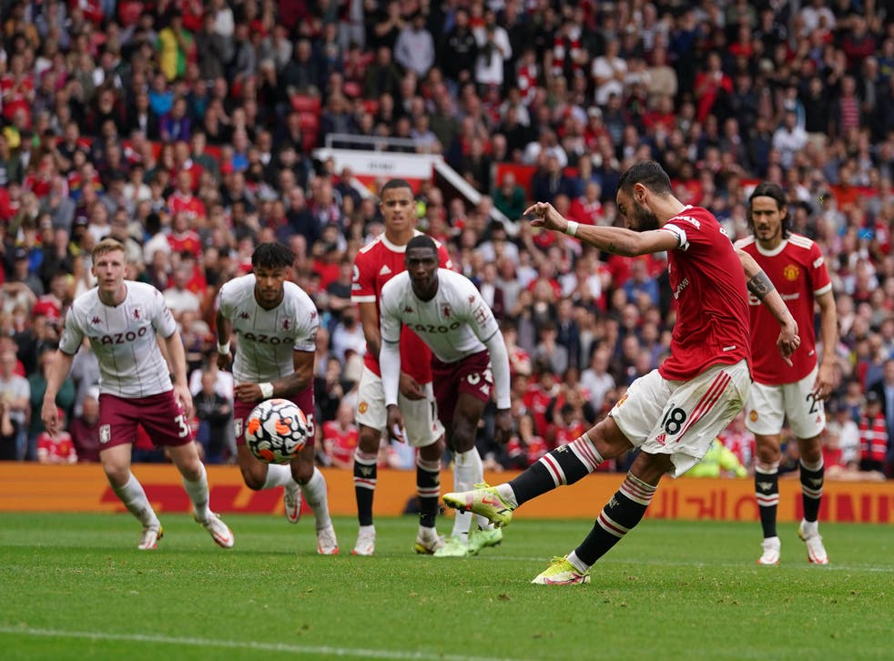 Bruno Fernandes blazes his late penalty over the bar (Martin Rickett/PA)