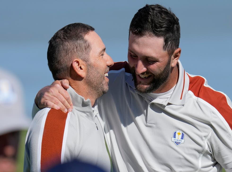 Sergio Garcia and Jon Rahm celebrate after winning their foursomes match on day two of the 43rd Ryder Cup (Ashley Landis/AP)