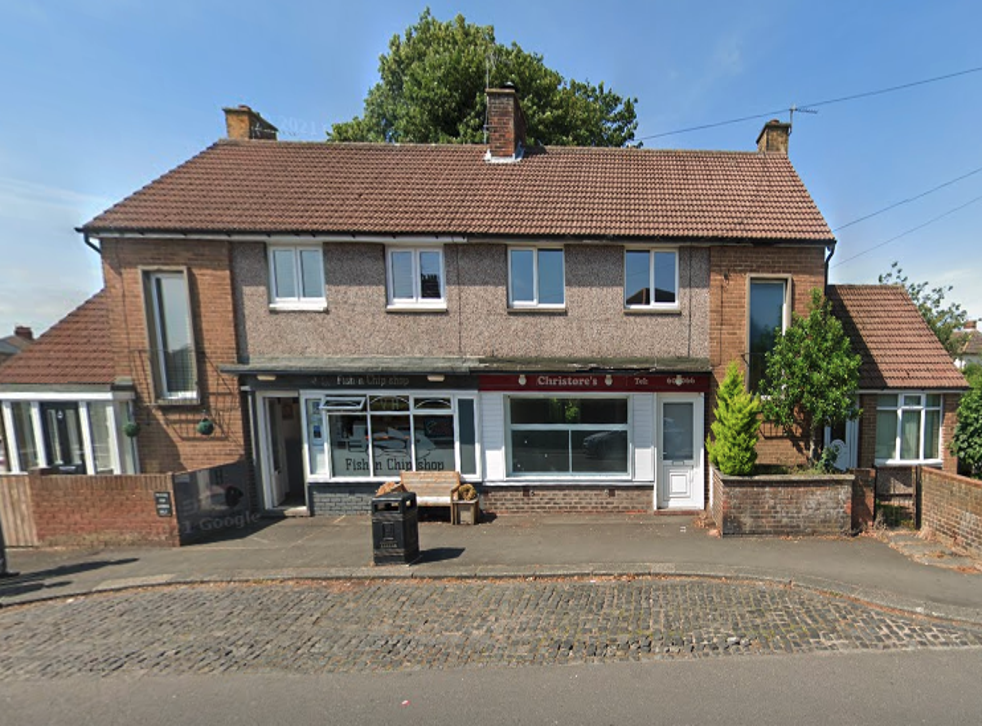 <p>Area in front of Christine and Stephen Williams' house, where a fence was erected, next door to a chip shop in Alnwick, Northumberland </p>