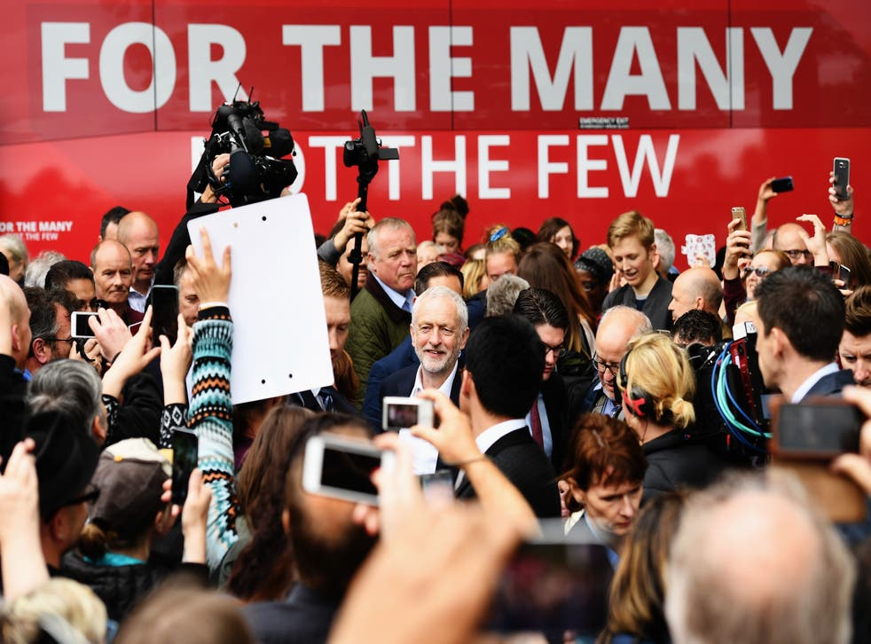 <p>Labour Party Jeremy Corbyn is mobbed by supporters as he launched the party's 2017 election manifesto</p>