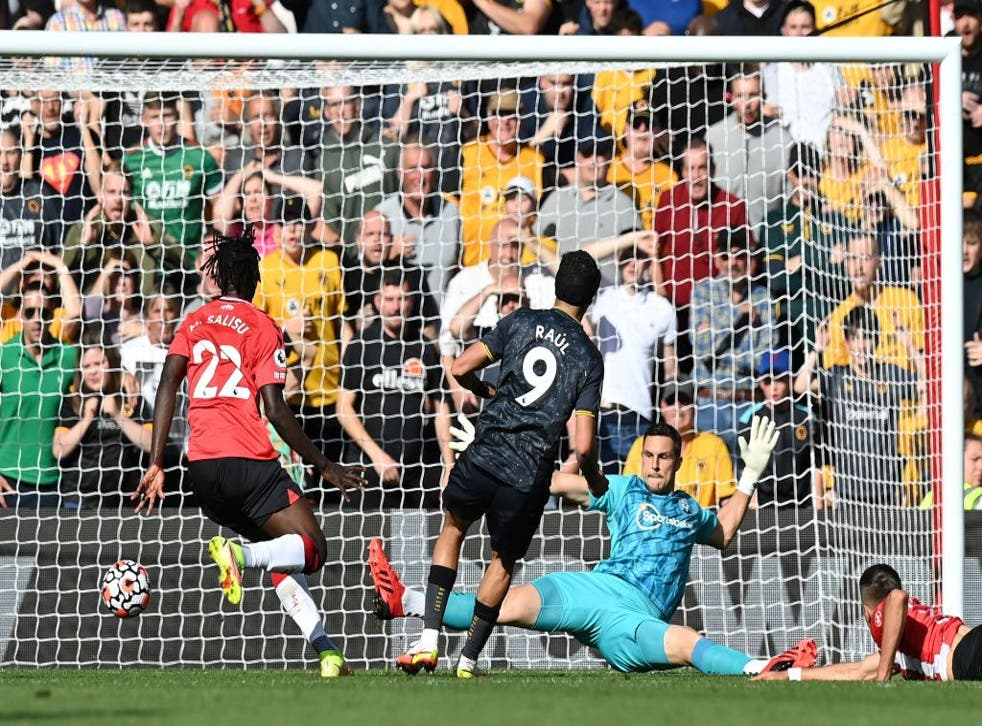 <p>Raul Jimenez beats Southampton goalkeeper Alex McCarthy  for the only goal of the game </p>