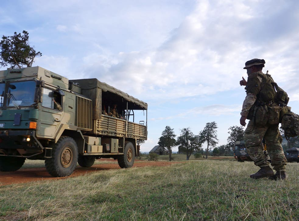 <p>An unrelated photo shows soldiers taking part in a military excercise at the British Army Training Unit in Kenya</p>