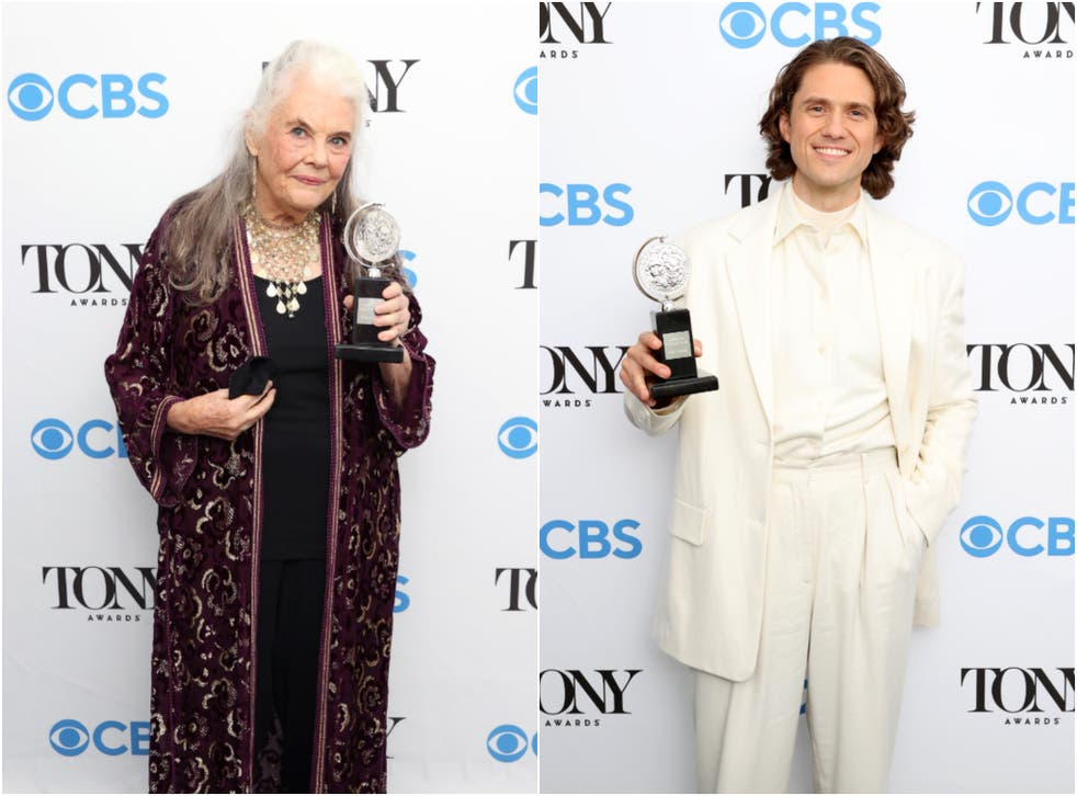 <p>Lois Smith and Aaron Tveit with their awards at the 74th Tony Awards </p>