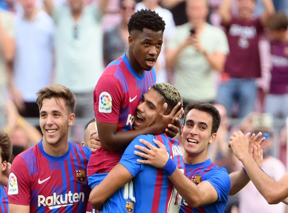 <p>Ansu Fati scored Barcelona's third goal</p>