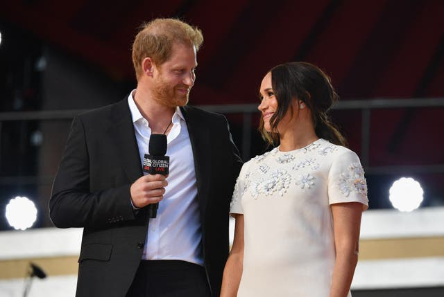 <p>The Duke and Duchess of Sussex during the Global Citizen Live festival in New York</p>